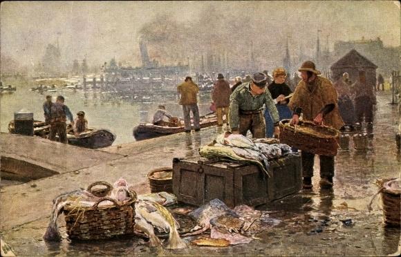Künstler Ak Herrmann, Hans, Amsterdam Nordholland Niederlande, Fischmarkt am Y
