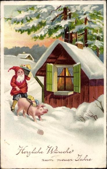 Ak Glückwunsch Neujahr, Zwerg mit Schwein, Geschenke