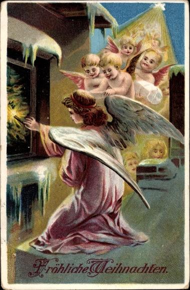 ak frohe weihnachten singende engel mit tanne nr 1742119. Black Bedroom Furniture Sets. Home Design Ideas