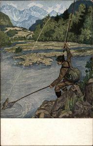Künstler Ak Hoess, Eug. L., Petri Heil, Angler fängt einen Fisch