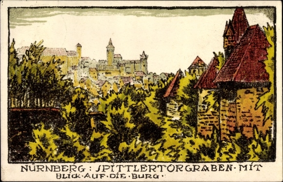 Steindruck Ak Nürnberg in Mittelfranken Bayern, Blick auf die Burg