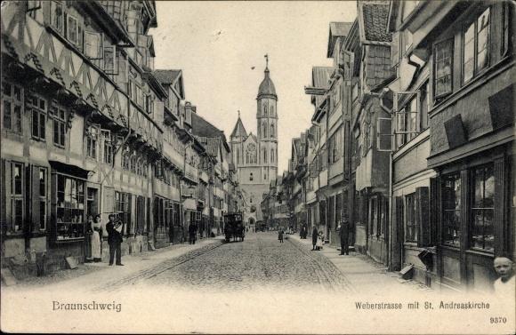 Ak Braunschweig in Niedersachsen, Weberstraße mit St. Andreaskirche, Geschäfte