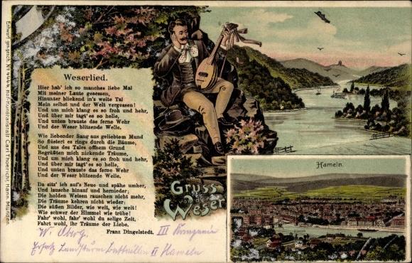 Litho Hameln in Niedersachsen, Gesamtansicht der Stadt, Blick ins Wesertal, Weserlied