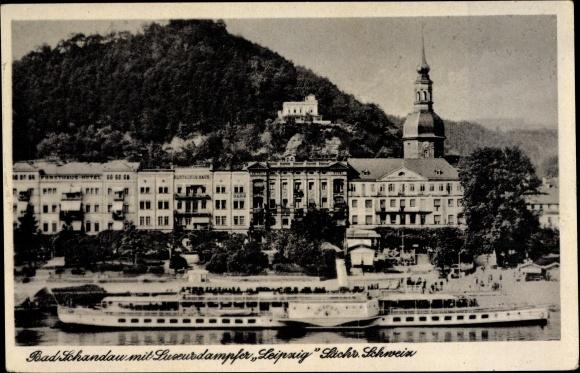 Ak Bad Schandau an der Elbe, Blick auf den Luxusdampfer Leipzig, Deutsches Haus, Bank