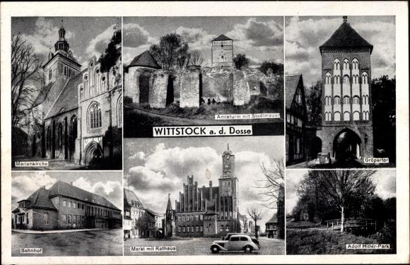 Ak Wittstock Dosse in der Ostprignitz, Gröpertor, Markt, Rathaus, Bahnhof, Marienkirche, Amtsturm
