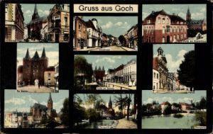 Ak Goch in Nordrhein Westfalen, Kirchstraße, Krankenhaus, Steintor, Markt, Nierspartie, Kirche