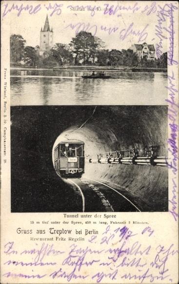 Ak Berlin Treptow, Stralau mit Kirche, Tunnel unter der Spree, U Bahn