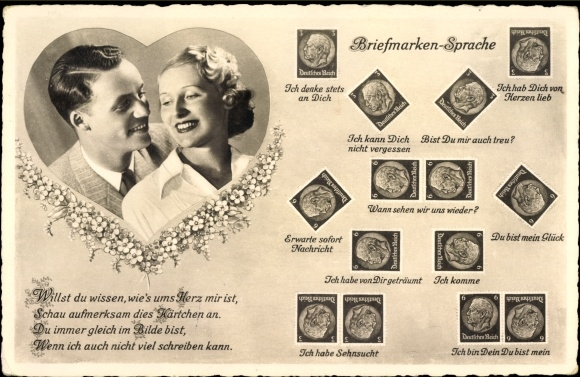 Briefmarken Ak Briefmarkensprache, Liebespaar, BNK 36601/2