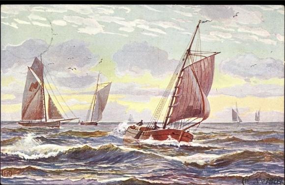 Künstler Ak Fischerboot kehrt vom Fang heim, Segelboote