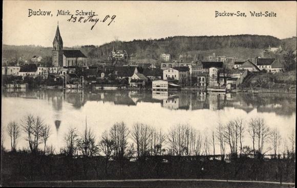Ak Buckow in der Märkischen Schweiz, Blick auf Ortschaft und Buckow See vom Westen
