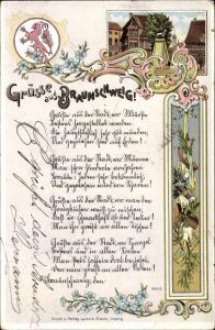 Wappen Litho Braunschweig in Niedersachsen, Gedicht, Braunschweiger Löwe