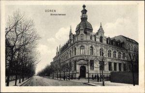 Ak Düren in Nordrhein Westfalen, Partie in der Bismarckstraße, Bank