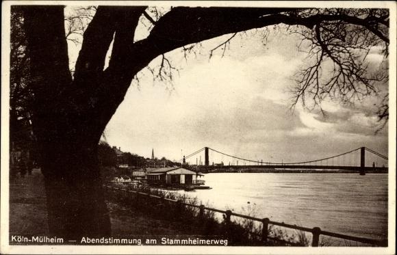 Ak Mülheim Köln Nordrhein Westfalen, Abendstimmung am Stammheimerweg, Brücke