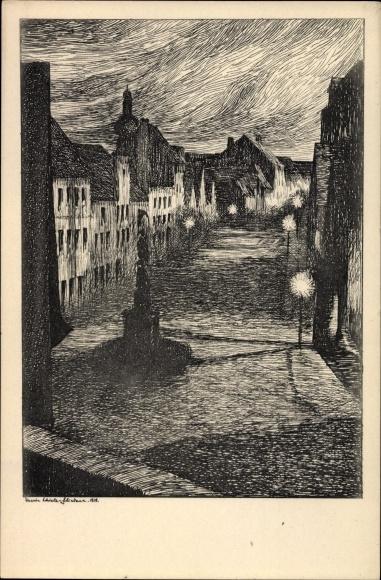 Künstler Ak Schiele Fliedner, Marie, Mülheim Köln Nordrhein Westfalen, Mülheimer Freiheit,Mondschein
