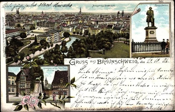 Litho Braunschweig in Niedersachsen, Totalansicht der Stadt, Löwensäule, Burgplatz, Lessing Denkmal