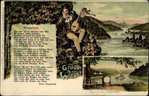 Lied Litho Hann. Münden in Niedersachsen, Weserlied, Franz Dingelstedt, Sänger mit Laute, Weserstein