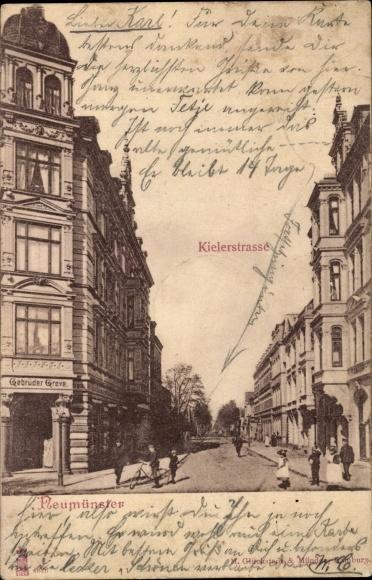 Ak Neumünster in Schleswig Holstein, Partie an der Kieler Straße, Geschäft, Inh. Gebrüder Greve