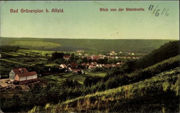 Ak Grünenplan Delligsen in Niedersachsen, Blick von der Steinbreite auf den Ort mit Umgebung