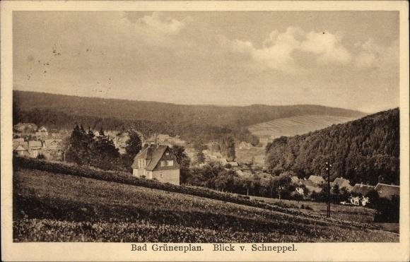 Ak Grünenplan Delligsen in Niedersachsen, Blick vom Schneppel auf den Ort mit Umgebung
