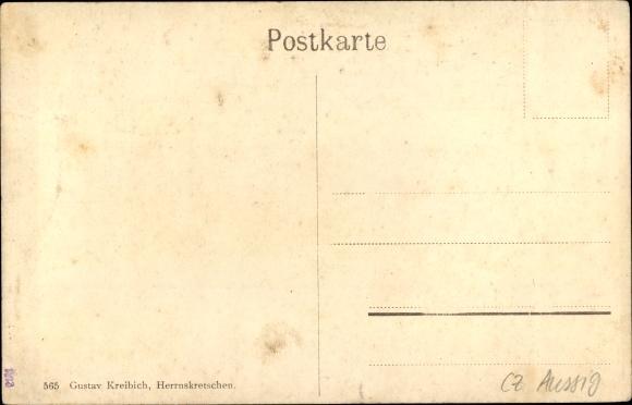 Ak Hřensko Herrnskretschen Elbe Reg. Aussig, Edmundsklamm, Wasserfall 1