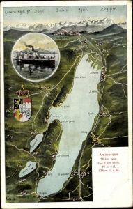 Landkarten Ak Felle, Eugen, Weilheim Oberbayern, Ammersee, Karwendelgebirge, Wappen