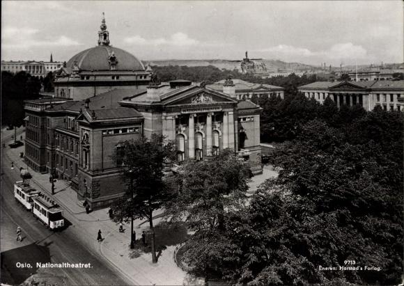 Ak Oslo Norwegen, Nationaltheatret, Blick auf das Nationaltheater, Straßenbahn