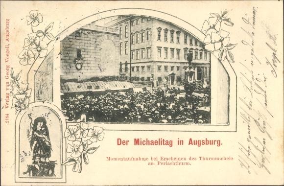 Ak Augsburg in Schwaben, Michaelitag, Erscheinen des Turamichele am Perlachturm