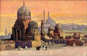 Künstler Ak Cairo Kairo Ägypten, Tombeaux des Mamelouks, Grabstätten