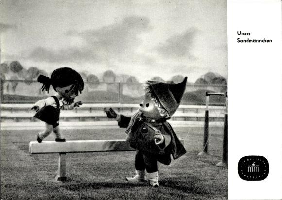 Ak Unser Sandmännchen, Sandmann, DDR Kinderfernsehen, Schwebebalken, S 103