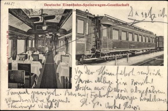 Ak Deutsche Eisenbahn, Dampflokomotive, Speisewagen Gesellschaft