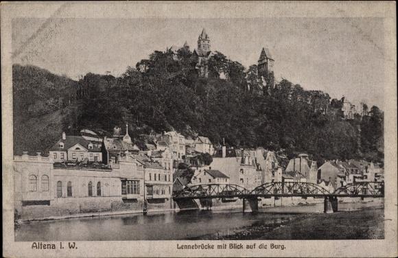 Ak Altena im Märkischen Kreis, Lennebrücke mit Blick auf Burg