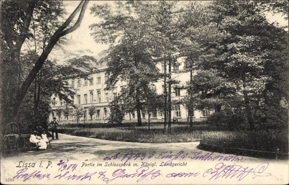 Ak Leszno Lissa Posen, Partie im Schlosspark, Königliches Landgericht