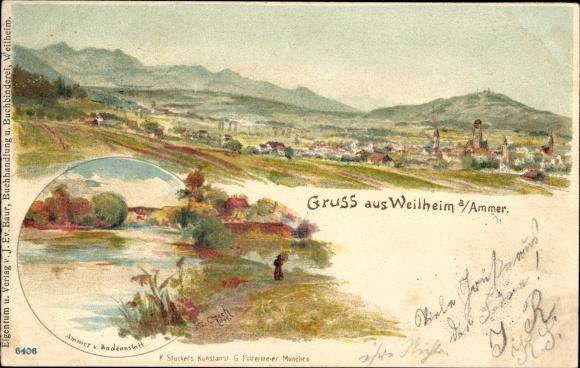 Künstler Litho Czech, F., Weilheim Oberbayern, Ammer und Badeanstalt, Landschaftsblick