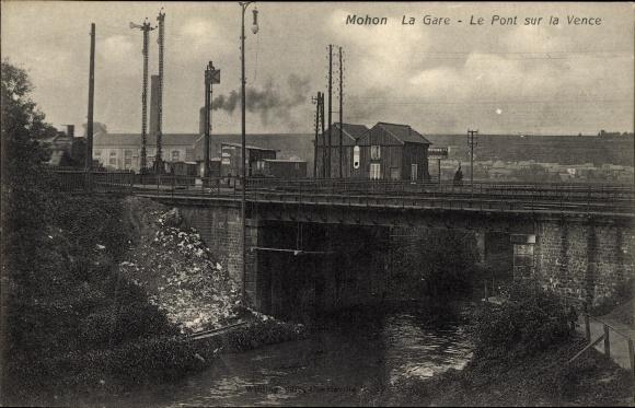 Ak Mohon Morbihan, La Gare, Le Pont sur la Vence, Bahnhof, Dampflok