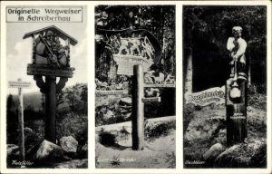 Ak Szklarska Poręba Schreiberhau Riesengebirge Schlesien, Wegweiser, Holzfäller, Glasbläser