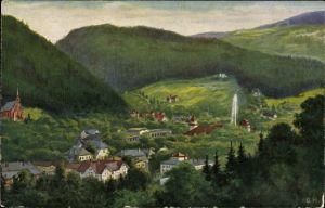 Künstler Ak Herrfurth, Oskar, Duszniki Zdrój Bad Reinerz Schlesien, Ortschaft mit Landschaftsblick