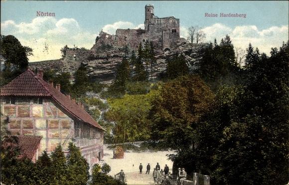 Ak Nörten Hardenberg in Niedersachsen, Blick zur Ruine, Fachwerkhaus