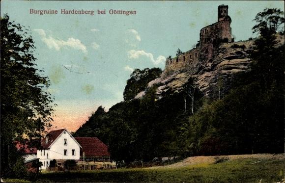 Ak Nörten Hardenberg in Niedersachsen, Burgruine Hardenberg auf Felsen von unten gesehen