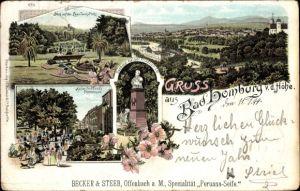 Litho Bad Homburg vor der Höhe, Kaiser Friedrich III. Denkmal, Lawn Tennis Platz, Becker & Steeb