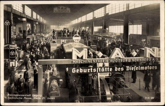 Ak Leipzig in Sachsen, Technische Messe, Halle 21, Innenansicht, MAN Maschinenfabrik, Krupp