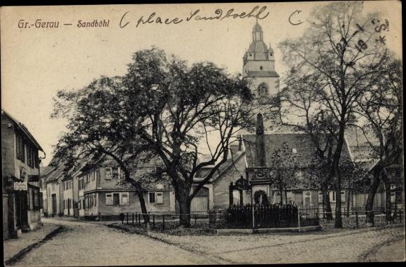 Ak Groß Gerau in Hessen, Partie am Sandböhl, Kriegerdenkmal, Kirche