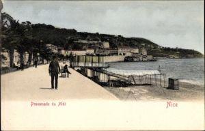 Ak Nice Nizza Alpes Maritimes, Promenade du Midi, Strandpartie