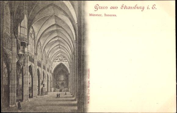 Ak Strasbourg Straßburg Elsass Bas Rhin, Innenansicht vom Münster, Orgel