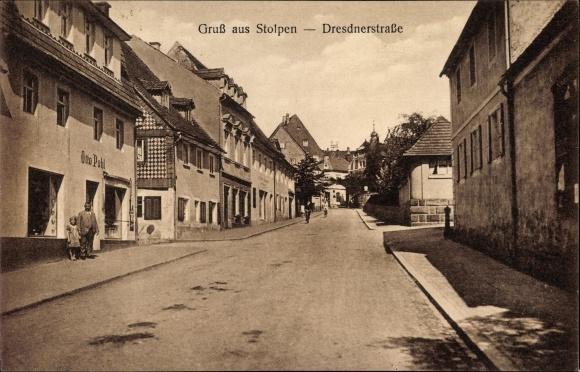 Ak Stolpen in Sachsen, Partie in der Dresdner Straße, Handlung von Otto Pohl
