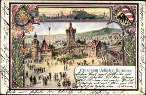 Künstler Ak Trost, F., Nürnberg in Mittelfranken Bayern, Ansicht vom Volksfest
