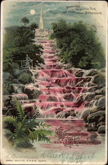 Mondschein Litho Berlin Kreuzberg, Wasserfall im Viktoriapark bei elektrischer Beleuchtung, Denkmal