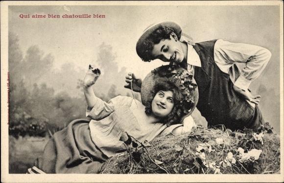 Ak Qui aime bien chatouille bien, Liebespaar, Edition Bergeret