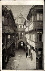 Ak Braunschweig in Niedersachsen, Hof des Hauses Poststraße 6, Jacobstraße, Buchdruckerei