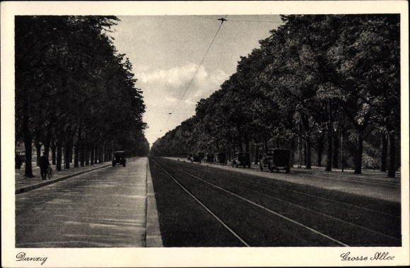 Ak Gdańsk Danzig, Große Allee, Straßenpartie