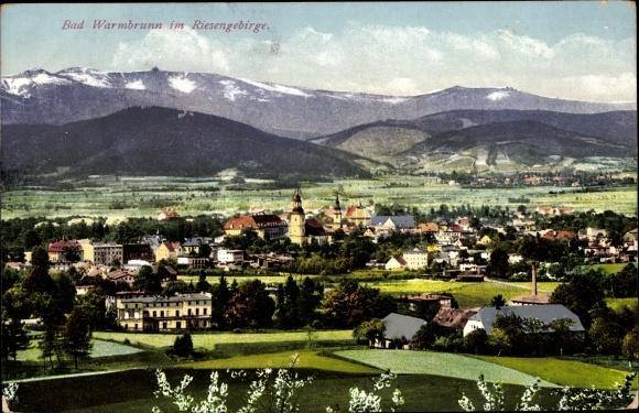 Ak Cieplice Śląskie Zdrój Bad Warmbrunn Schlesien, Totalansicht vom Ort